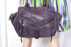 NWT $298 - Botkier Studded Purple Premium Leather Trigger Small Satchel Handbag #Botkier #Satchel