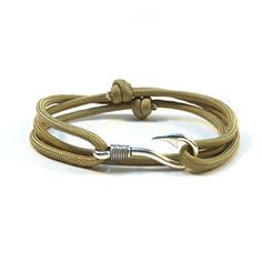Handmade Solid Color Paracord Bracelet with Fish Hook Gold >>> Details can be found by clicking on the image.