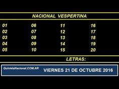 Quiniela - El Video oficial de la Quiniela Vespertina Nacional del día Viernes 21 de Octubre de 2016. Info: www.quinielanacional.com.ar