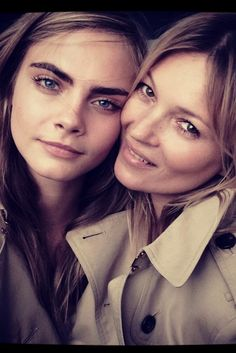 A behind-the-scenes image of Cara Delevingne and Kate Moss released by Burberry on Instagram. [Photo By Courtesy]