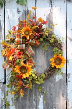 Fall Wreath, Sunflowers, Pumpkins, Berries, Plaid Bow via Etsy. Autumn Wreaths, Holiday Wreaths, Mesh Wreaths, Fall Door Wreaths, Wreath Fall, Grapevine Wreath, Wreath Crafts, Diy Wreath, Wreath Ideas