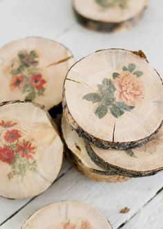 Transferring botanical prints onto cute wooden coasters will add a vintage flair to your wedding favors.