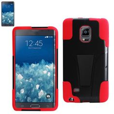 Reiko Silicon Case+Protector Cover Samsung Galaxy Note Edge New Type Kickstand Red Black