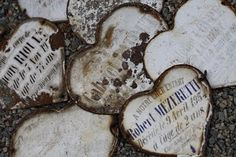 French metal signs...  could print out on card stock or such, adhere to a 3/16th backing, then wrap with aged bronze wire for a similar effect... wouldn't this be darling on a white lighted Christmas tree.... mmmMMMmmm!