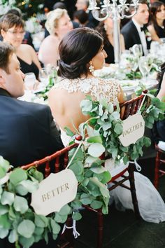 Greenery Chair Garland | photography by http://jacquelynnphoto.com/| floral and event deisgn by | La Fete | www.allisonbaddley.com