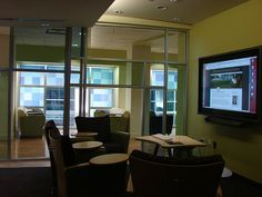 This group study area in the Incubator Space, Emory University, provides more comfort and flexibility as furniture can be arranged to face the screen and suit the size of the group. It's been captured here by jisc_infonet on Flickr.
