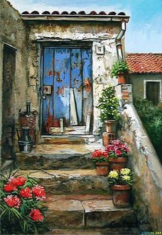francesco mangialardi in 2019 Old Doors, Beautiful Paintings, Painting Inspiration, Home Art, Painting & Drawing, Landscape Paintings, Watercolor Paintings, Beautiful Pictures, Canvas Art