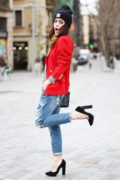destroyed jeans stripes top red blazer street style