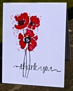 There were several watercolored poppy paintings on the Etsy site for and… Watercolor Poppies, Watercolor And Ink, Poppies Painting, Poppy Cards, Paint Cards, Flower Cards, Creative Cards, Greeting Cards Handmade, Homemade Cards