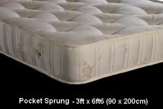 3ft x 6ft6 Marissa Pocket Mattress - £339.95 - The mattress is a sumptious pocket sprung unit which is both deep and plush with approx 1,000 spring count (based on 5ft size). The firm tension springs combined with deep layers of upholstery provide a beautifully supportive nights sleep.