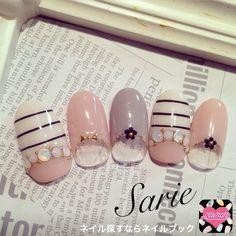 sarieさんのボーダー,ピンク,春ネイル♪[800905]   ネイルブック (419014)