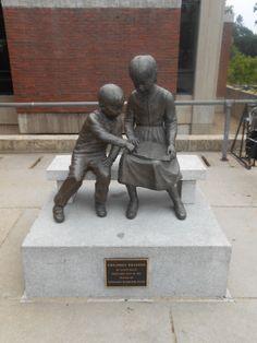 Statue outside Nashua Public Library
