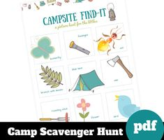 Camping scavenger hunt for kids, printable preschool activity for summer, outside games, outdoor toddler game, summer camp fun
