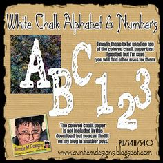Auntie M Designs: White Chalk Alphabet and Numbers