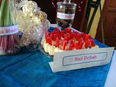 Nailpolish-Marshmallows dipped in white chocolate topped with liquorice. Chocolate Topping, White Chocolate, Marshmallow Dip, Spa Party, 8th Birthday, Marshmallows, Nail Polish, Food, Chocolate Frosting