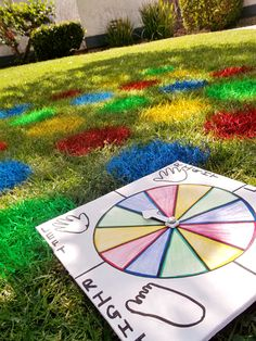 Lawn Twister- Use Marking Paint (found at the local hardware store) to paint a grid that will last up to a week, or rinse off with water.