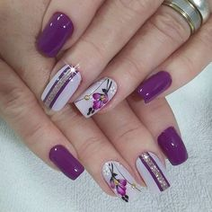 lavender nails — 30 Cool and Easy Halloween nail art designs for Women Flower Nail Designs, Flower Nail Art, Nail Designs Spring, Nail Art Designs, Diy Flower, Nails Design, Nail Art Rose, Creative Nail Designs, Spring Design