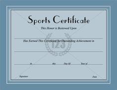 Sports Certificate Template   Certificate Templates