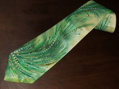 Handpainted silk necktie with green waves by chiffonart on Etsy, $40.00