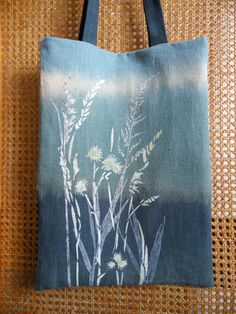 98dcfa7b1d78 Floral Linen Tote Bag Natural Linen Bag Hand Painted Bag by olyiri Painted  Bags