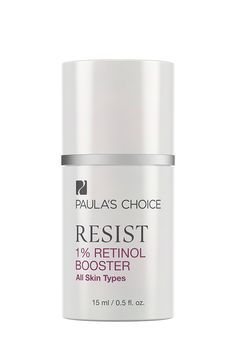 "Resist Anti-Aging 1% Retinol Booster. (Contains ""retinol"" in ingredients list). Can help clear break-out prone skin. Apply once or twice daily after cleansing, toning and exfoliating. Dispense 1–3 drops and add to your favourite moisturiser or serum. For daytime, follow with a broad-spectrum sunscreen rated SPF 25 or greater. May be applied around the under-eye area. The pump allows you to measure out by the drop, by pressing lightly on the top until one drop dispenses. Here is how to…"