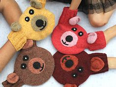 Teddy Bear Mittens for holding hand, is machine-felted after knitting