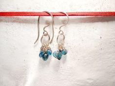 Kyanite Earrings. Rustic Teal Blue kyanite by MADAMBLUEONE on Etsy, $18.00
