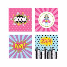 Super Hero Girl Birthday Decorative Favor Tags