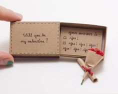 Funny Valentine Card/ Witty Valentine's Day Card/ Humor Valentine Matchbox Card/ Will You Be My Valentine?/LV018 - SHIP TO U.S. ONLY