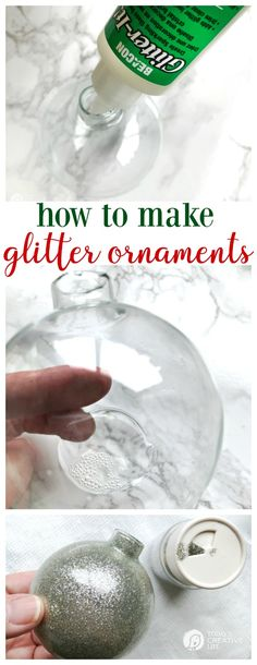 How to Make Glitter Ornaments | DIY Glass Glittered Ornaments any color you need. Easy to make! Click the photo for a step by step tutorial. TodaysCreativeLife.com