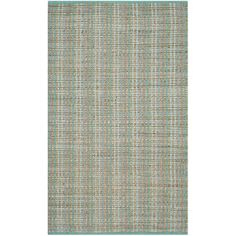 Features:  -Patterns are subject to change based upon rug size.  Technique: -Hand woven.  Primary Color: -Light Aqua.  Material: -Jute/Sisal/Cotton.  Product Type: -Area Rug. Dimensions: Rug Size 3' x