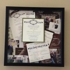 Shadow box of all of our wedding stationary!