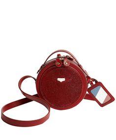 Burgundy Patent Leather Circular Bag- hello my pretty!