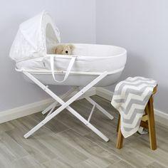 Nursery Furniture Cream Moses Basket Set Perfect For Newborn Bassinets & Cradles Careful Little Rocker With Folding Stand