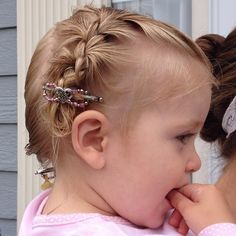 Baby braids!  So sweet!  Do you braid your baby's hair?  #baby #flexiclip #lillarose #pink #heart