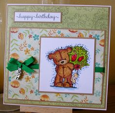 Today's card is for a friend in Spain. Art Impressions, Penny Black, Magnolia, Stamping, Card Ideas, Birthday Cards, Cabin, Bear, My Love