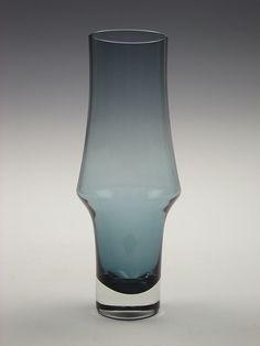 Riihimaki steel blue coloured cased glass vase