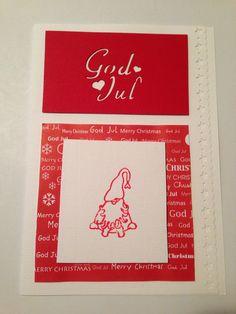 Julkort med tomte vitt och rött