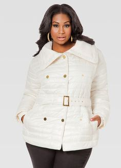 0793241a830 Ribbed Knit Collar Belted Puffer Coat. Fashionable Plus Size ClothingRib  KnitWomens FashionPlus FashionBeltClosetKnittingPlus Size CoatsAshley  Stewart