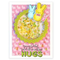 Created by Suzy Plantamura | Easter hugs shaker card | March Card Kit
