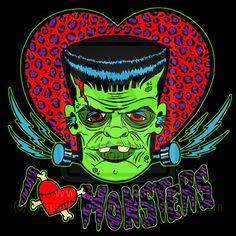 I love monsters Frankenstein illustration Love Monster, Frankenstein's Monster, Horror Comics, Horror Art, Rockabilly Art, Bride Of Frankenstein, Creatures Of The Night, Classic Monsters, Vintage Horror