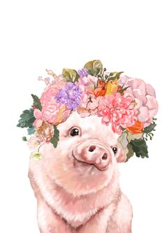 Lovely Baby Pig with Flowers Crown Art Print by Big Nose Work - X-Small Crown Art, Big Noses, Baby Pigs, Flower Crown, Metal Art, Framed Art Prints, Cute Animals, Farm Animals, Vibrant Colors