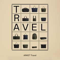 ARKET Travel is a modular bag system of thoughtfully designed carry-on luggage, minimalist ultralight daypacks that can be folded into their own pocket, and a series of mesh pouches and garment cases for efficient packing and compact travelling. Layout Design, Web Design, Graphic Design, Stop Motion Photography, Interactive Poster, Efficient Packing, Brand Presentation, Email Design, Social Media Design