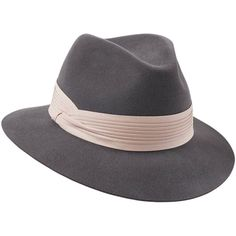 Penmayne of London - Siena Fedora Grey Pink Pleated Band ($336) ❤ liked on Polyvore featuring accessories, hats, gray fedora, pink fedora hat, pink fedora, band hats and gray hat