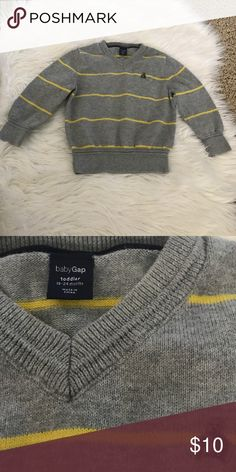 {babyGAP} Baby Boy Striped V-neck Sweater {babyGAP} Baby Boy Striped V-neck Sweater. Colors: Gray and yellow. Size: 18-24 months. GAP Shirts & Tops Sweaters