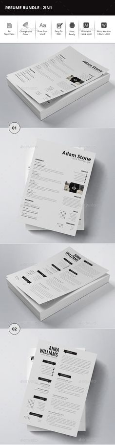 2 Resume Templates Vector EPS, AI Illustrator, MS Word Download - buy resume templates