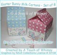 Easter Bunny Milk Cartons - Set of 8