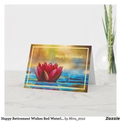 Happy Retirement Wishes Red Waterlily Elegant Card #personalizedretirementgifts #personalizedretirementcards #happyretirement #happyretirementgifts #retirement #waterlilies Happy Retirement Wishes, Retirement Greetings, Retirement Congratulations, Personalized Retirement Gifts, Elegant Flowers, Photography Props, Creative Photography, Flower Images, Plant Design