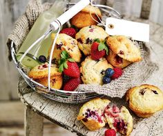 Can anything beat these fluffy and moist mixed berry muffins with bursts of fresh or frozen berries for a morning tea treat. Carrot Recipes, Muffin Recipes, Cupcake Recipes, Baking Recipes, Mini Blueberry Muffins, Mixed Berry Muffins, Chelsea Bun Recipe, Cream Bun, Rhubarb Crumble