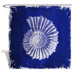 beach blue sea shells Shower Curtain